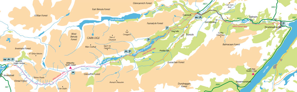 Affric Kintail Way Terrain Map
